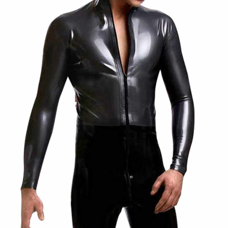 744af4706c71 2018 New Strong Men Black Leather Latex Bodysuit Top PU Sexy Zentai Catsuit  Gay Male Leotard