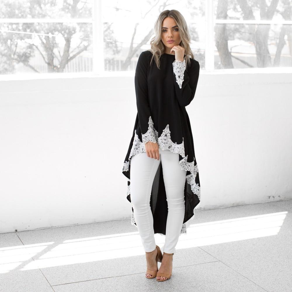 2b8ce4113144e 6 Colors Women White Lace Mesh Patchwork Tuxedo Style Dress Long Sleeve O  Neck Asymmetrical Autumn