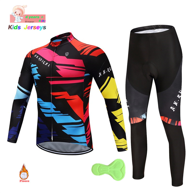 New Winter 2019 Pro Cycling Team Kids Bike Jerseys Pants Set Children Ropa Ciclismo Thermal Fleece Cycling Wear Maillot Culotte
