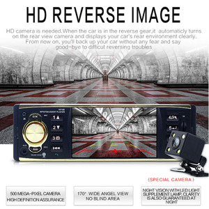 Image 2 - Podofo 4.1 인치 1 Din 자동차 라디오 오디오 스테레오 AUX FM 라디오 스테이션 블루투스 Rearview CameraSteering Wheel Control