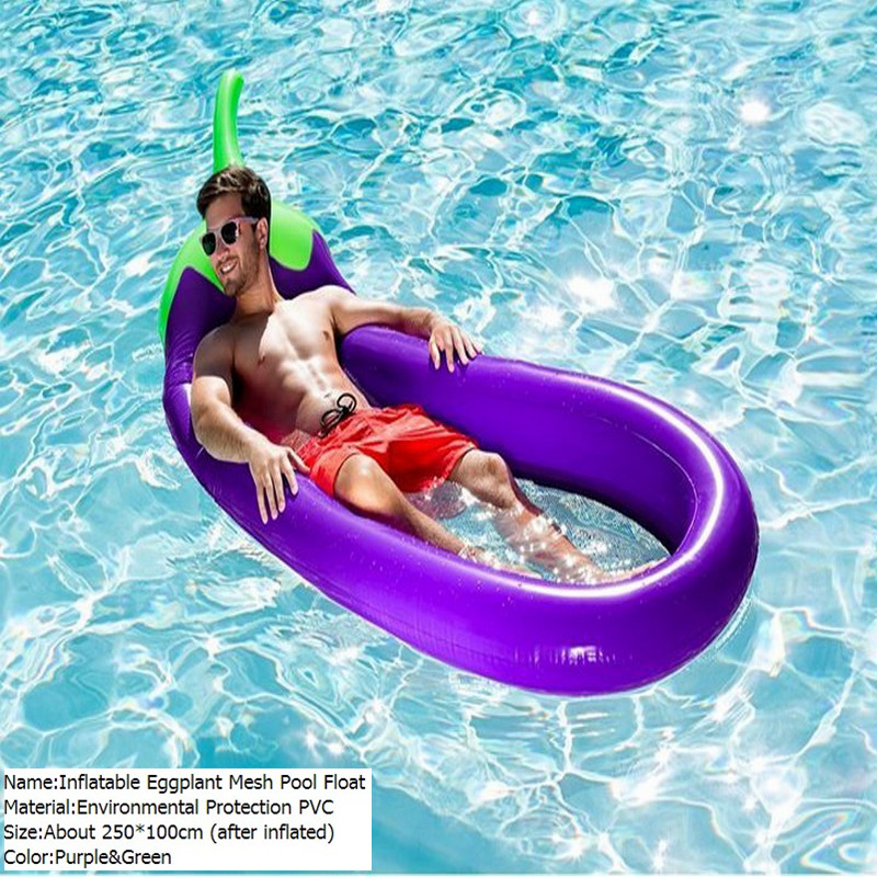 270*110cm Giant Inflatable Eggplant Mesh Pool Float Swimming Board Inflated Floating Mattress Water Toys Fun Raft Air Bed Lamzac  children animal pool floats inflatable animal floating kids toys swimming boat air mattress beach bed water boat 12 animals