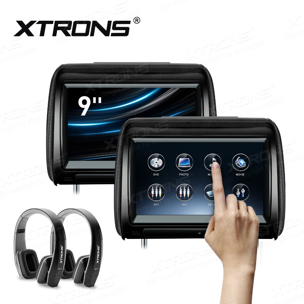 US $289.67 17% OFF|XTRONS 2pcs 9'' inch Monitor Car Headrest DVD Player on
