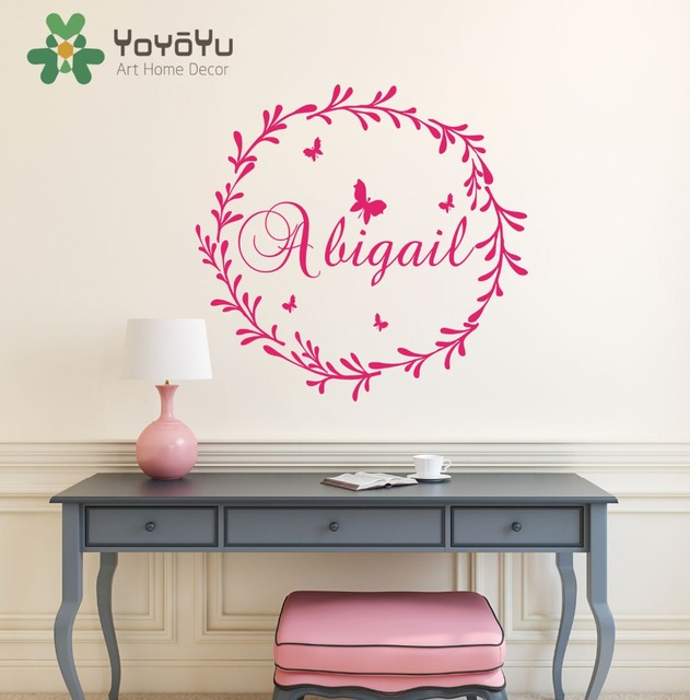 Removable Nursery Name Personalized Wall Decal Kids Children Bedroom Wall  Decoration Girl Name Wall Sticker Paper