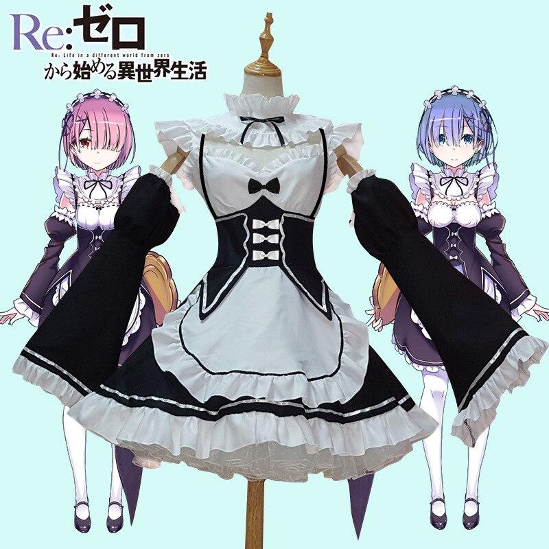 Femmes Re zéro commencer la vie dans un autre monde Ram & Rem japonais servante Cosplay Costume ensemble Halloween uniforme Lolita robe