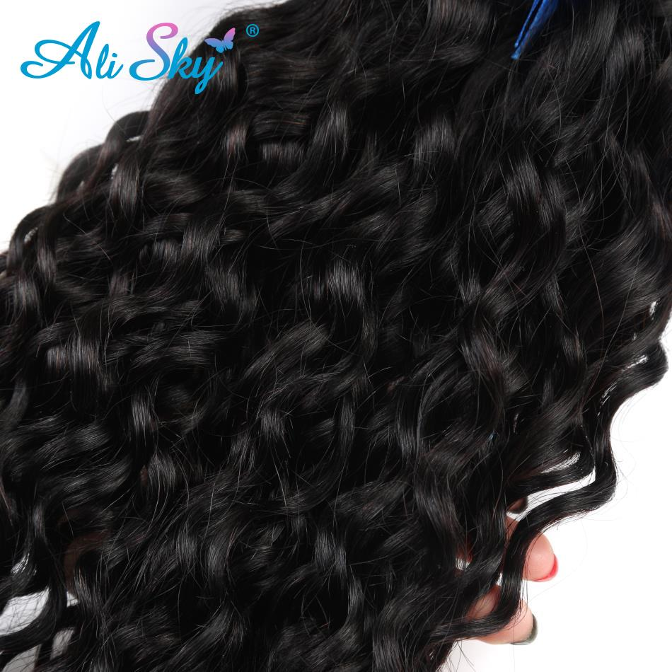 Alisky cabelo onda de água pacotes com fechamento tecer cabelo brasileiro 4 pacotes com 5x5 fechamento cor natural remy extensão do cabelo - 5