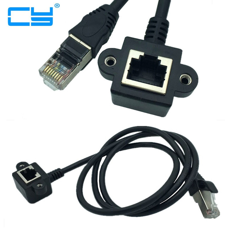 1//2M RJ45 CAT5e Panel Mount Snap in Ethernet LAN Network extension Cable Durable
