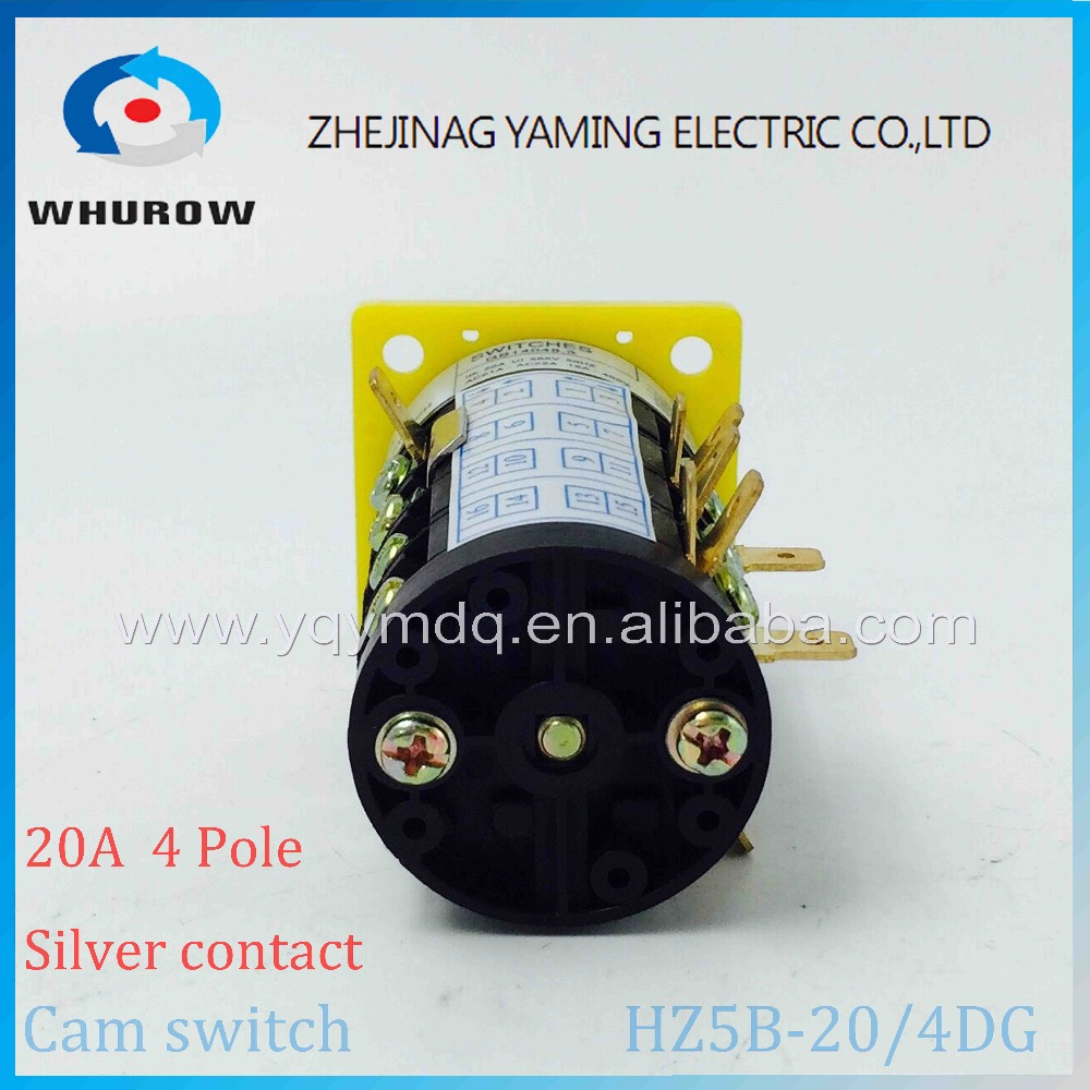 Cam switch HZ5B 20 4 combination changeover rotary switch 3 positions 1 0 2 4 poles High quality AC50Hz 20A 380V in Switches from Lights Lighting