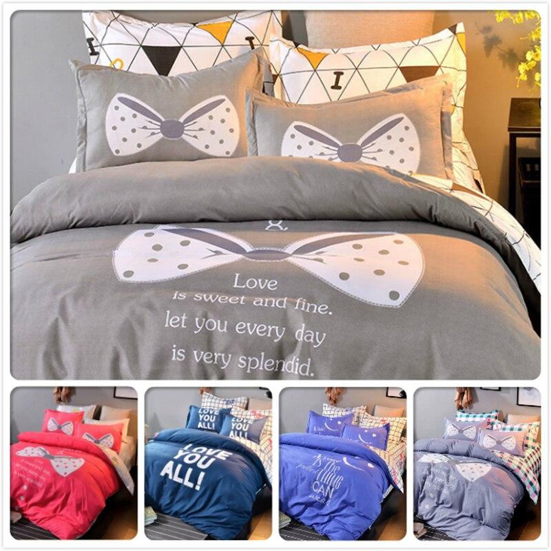 Gray Stripe Plaid 3/4 pcs Bedding Sets Kids Bedlinens 1.5m 1.8m 2m Bedsheet King Queen Double Single Size Duvet Cover Bedclothes