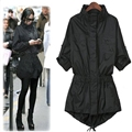 [soonyour] 2017 Autumn Self-cultivation stand collar long Sleeve Long Windbreaker black Loose Coat women HA02681XL