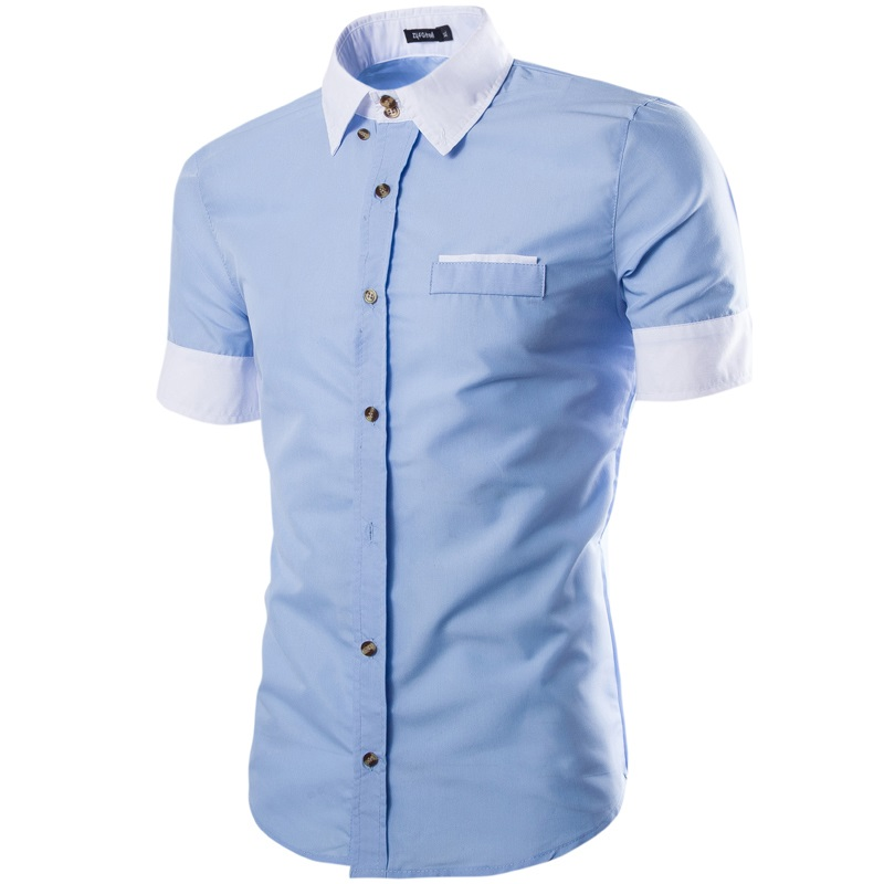 2017 New short sleeve men shirts Cotton shirts male casual Fashion mens shirts slim fit solid color shirt men
