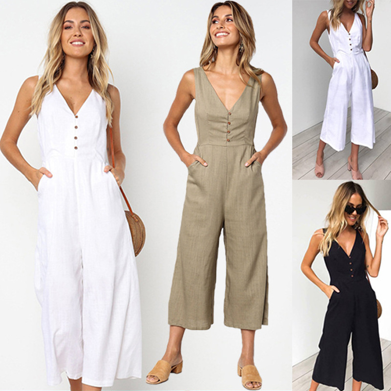 Womens Jumpsuits Casual Button Deep V Neck Sleeveless High Waist Wide Leg Jumpsuit Rompers with Pockets
