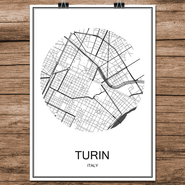 Turin Italy Black White World City Map Modern Print Poster Coated