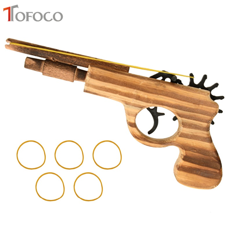 TOFOCO Wooden Rubber Band Gun Children'S Manual Pistol Gun Toy Revolver Kids Fun Outdoor Game Shooter Toys Safety