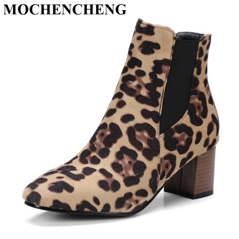 New Shoes Women Boots Large Size Thick High Heels Pointed Toe Pumps Leopard Black Europe Stylish Ankle Boots for Autumn Winter hee grand women ankle boots for 2017 new autumn solid pu pumps shoes pointed toe high heels boot shoes woman size 35 43 xwx4253