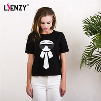 LIENZY Summer Sequiens Women Black T Shirt Short Sleeve Karl T Shirts Slim Casual Tee And