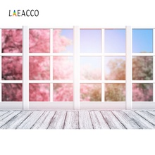Laeacco Gray White French Window Wooden Floor Spring Flower Tree Baby Portrait Photo Backgrounds Backdrop For Studio