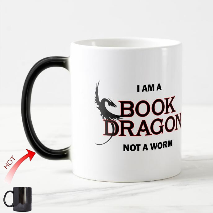 Novelty I Am A Book Dragon Not A Worm Magic Cup Funny Dragon Coffee
