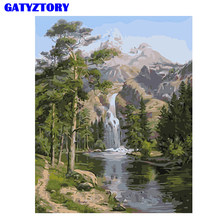Frameless Mountain Waterfall Landscape DIY Painting By Numbers Hand Painted Oil Painting For Home Wall Art Picture 40x50cm Arts(China)