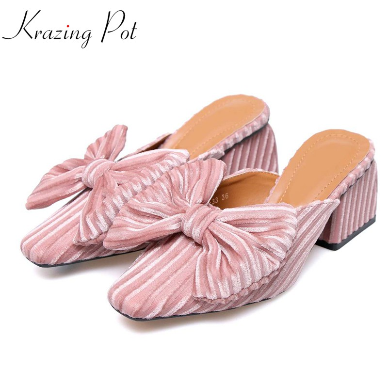 Krazing pot new velvet solid brand shoes high heels women sandals pink color bowtie slingback office lady party causal mules L27 krazing pot 2018 bowtie fashion diamond brand shoes flowers platform lacework crystal beading super high heels women sandals l69