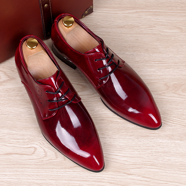 mens business wedding work dress bright genuine leather shoes point toe oxford shoe lace Korean fashion Zapatos Hombres man - Miyado store