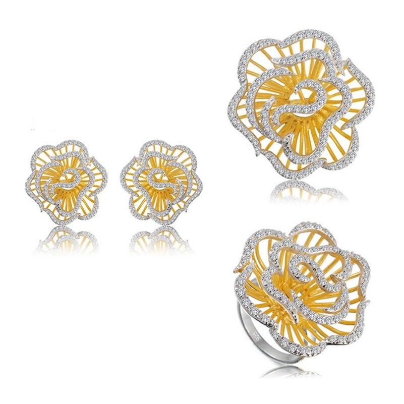 Eulonvan luxe 925 argent sterling mariage fleur ensembles de bijoux pour les femmes (bague/boucle d'oreille/pendentif) blanc zircon cubique S-3792set