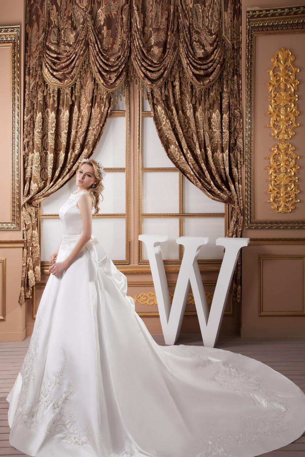 2015 long tail wedding dresses Lustrous Satin Floor length,Scoop Embroidery Beading Sleeveless wedding dress long train