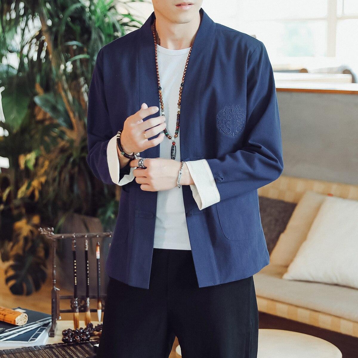 #4390 Printemps 2019 Noir Bleu Gris Kimono Veste Hommes Décontractée Vintage Broderie Grande Taille 4xl 5xl Style Chinois Vestes Mâle Rétro