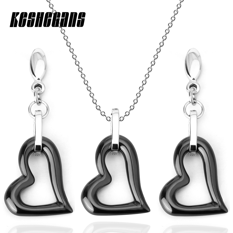 Classic White Black Love Heart Jewelry Sets For Women Pendant Necklace Earrings Sets Fashion Jewelry For Women Girls Beauty Gift