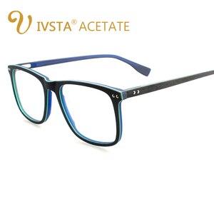 Image 2 - IVSTA בעבודת יד עץ משקפיים גברים עץ משקפיים כיכר מחזה קוצר ראייה משקפיים עדשות אופטיות אצטט מסגרות גדול גדול