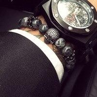 European Buddha Bracelet Men CZ Skull Charm India Labradorite 8mm Natural Stone Light Beads Bracelet For