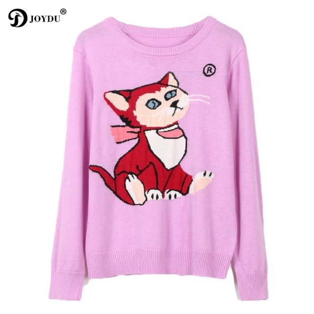 bdfb2d9ae JOYDU 2018 New Autumn Jumper Cute Cat Cartoon Pattern Long Sleeve Knitted  Sweater Women Purple Sweet Runway Harajuku Jumper Top