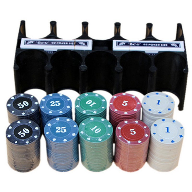 24*12*11 CM Texas Holdem Poker Set Boxed 200 Poker Chip+2 Poker+ 1 Table cloth+3 Blind For Entertainment With Box and Rack