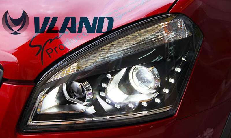 Free Shipping for Vland Car Lamp Qashqai 2008-2012 LED Headlight HID(Xenon lamp) Best Quality with Turning Light LED DRL free shipping for vland car head lamp for hyundai elantra led headlight hid h7 xenon headlamp plug and play for 2011 2013
