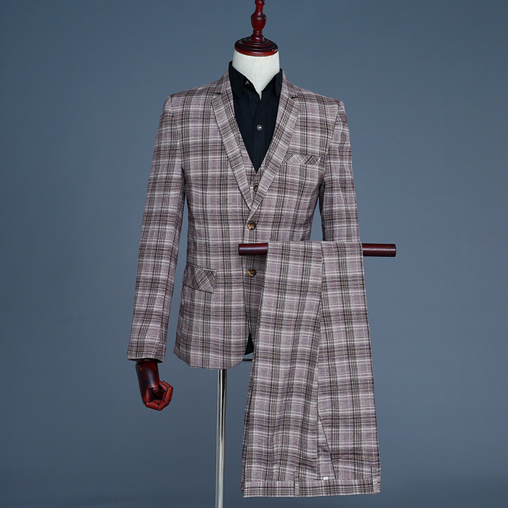 (Пиджак + брюки + жилет) мужские клетчатые Свадебные платья мужской блейзер тонкий костюм костюмы мужские деловые вечерние классические коф...
