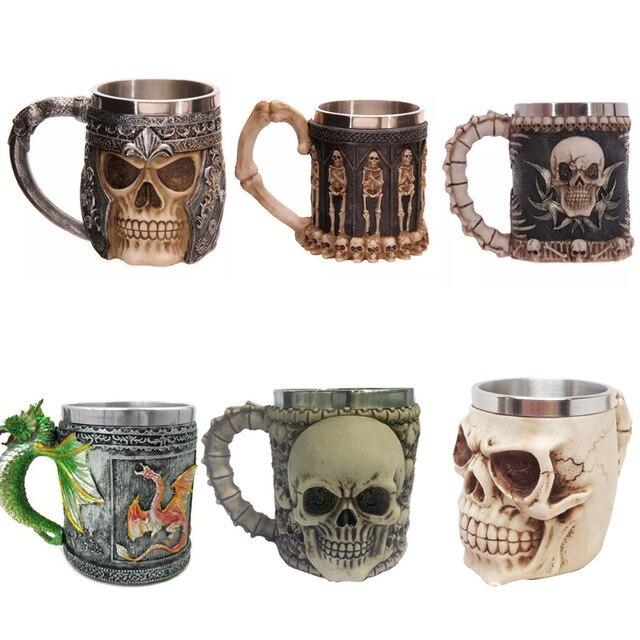 Stainless Steel Double Liner Drinking Skull Mug Resin 3D Skull Tankard Horror Decor Cup Dragon Bone Skull Metal Wine Goblet Cup