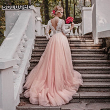 Sexy V Neck Lace Appliques Backless 3/4 Sleeves Bridal Wedding Dresses Vestidos de Noivas