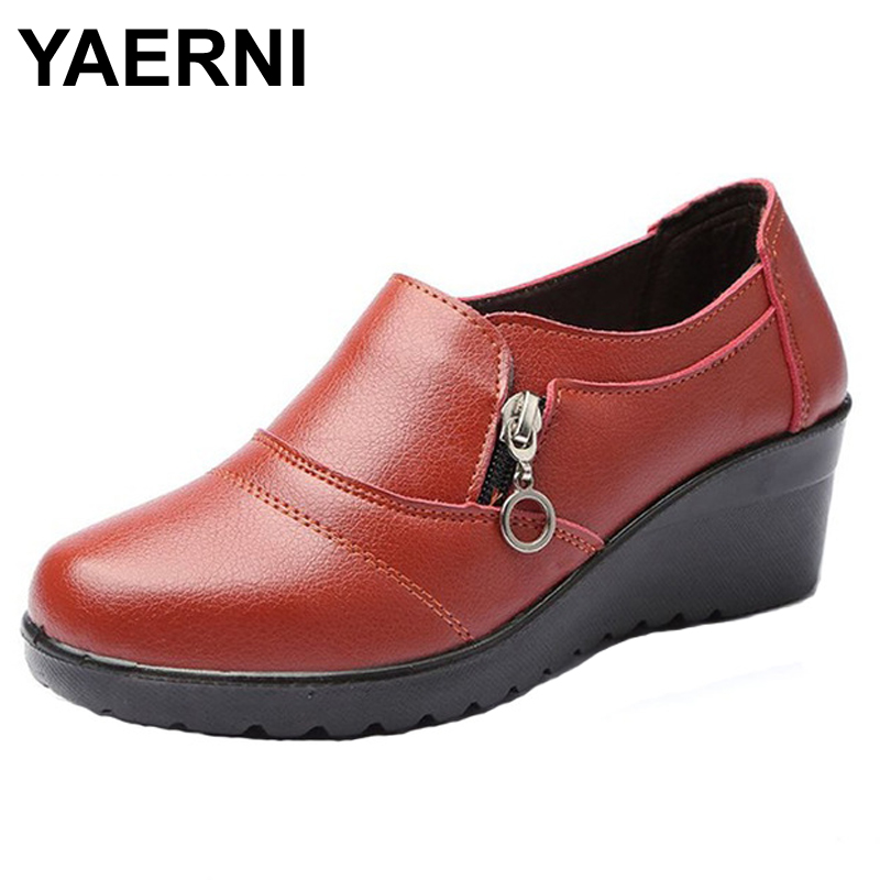 YAERNI Autumn new fashion slip on women Women's Genuine Leather Work shoes Mother comfortable Wedding Shoes