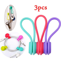 3pcs Magnetic Adsorption Wire Cable Cord Key Earphone Storage Holder Clips Organizer Cable Winder 3 PCS  /Pack
