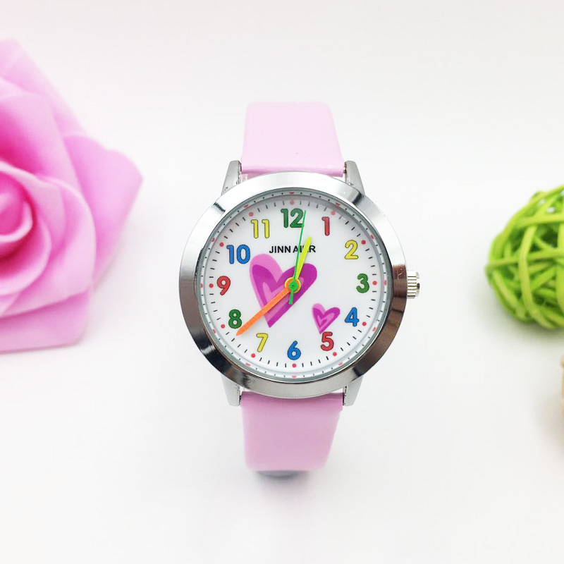 Fashion Children's Watches Colorful Number Heart Cartoon Quartz Watch Girl Pink Leather Pretty Student Wristwatches Kids Hodinky