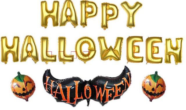 14pc/lot letters \'Happy Halloween\' foil balloon children birthday ...