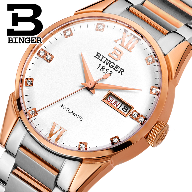 Switzerland men's watch luxury brand Wristwatches BINGER 18K gold Automatic self-wind full stainless steel waterproof  B1128-4 switzerland men s watch luxury brand wristwatches binger luminous automatic self wind full stainless steel waterproof b106 2