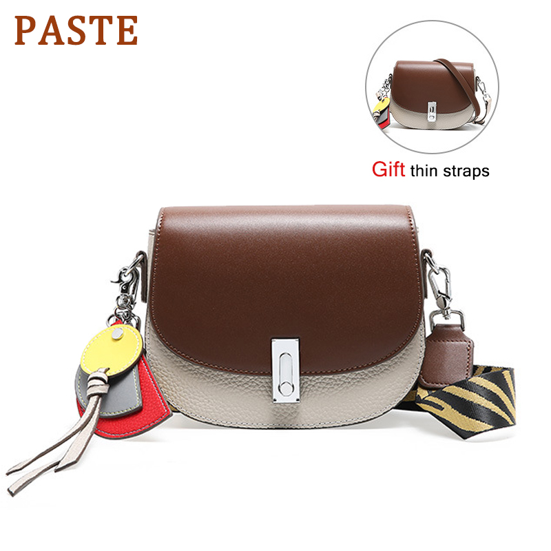 PASTE Saddle Famous Brand Luxury Handbags Women Bags Designer Genuine Leather Bag High Quality Shoulder Bag Small Wide StrapsPASTE Saddle Famous Brand Luxury Handbags Women Bags Designer Genuine Leather Bag High Quality Shoulder Bag Small Wide Straps