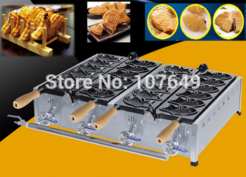 Hot Sale 12pcs Commercial Use Non-stick LPG Gas Taiyaki Baker Maker Machine Iron hot sale cayler