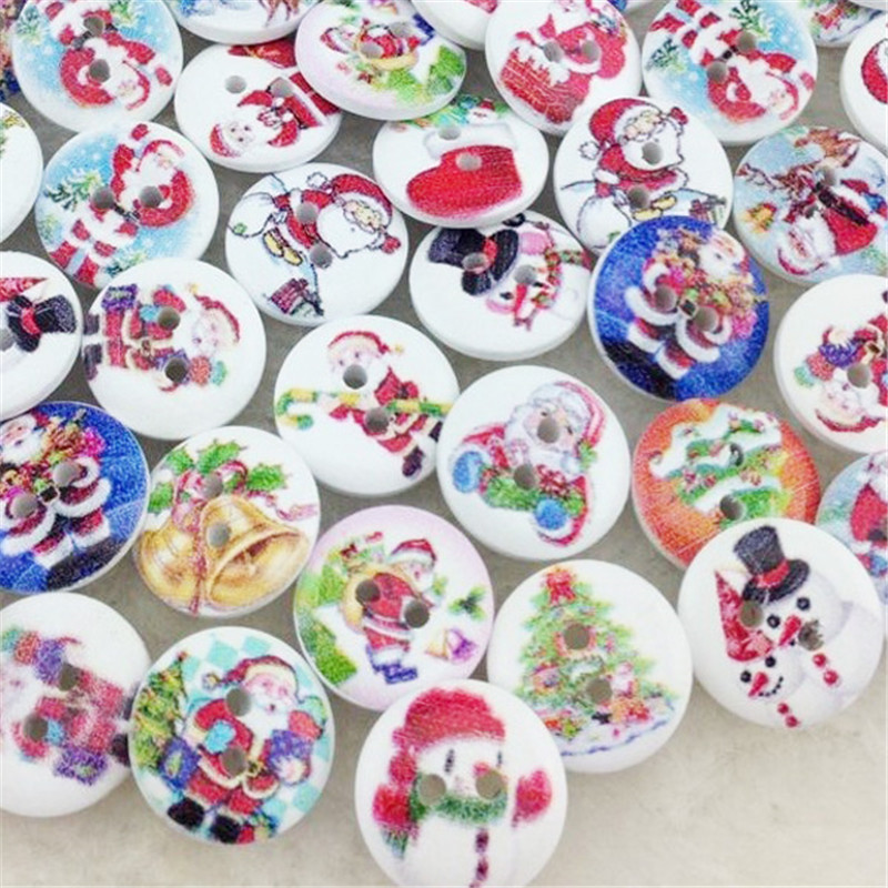 10/50/100pcs 15mm Santa Christams Tree Snowman Sewing Buttons For Kids Craft Decoration WB59