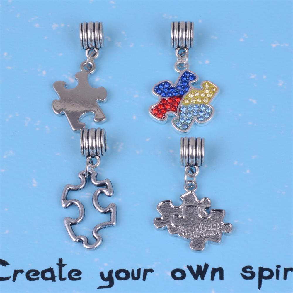 Autism Charms For Pandora Bracelets: My Shape Antique Silver Plated Autism Awareness Puzzle