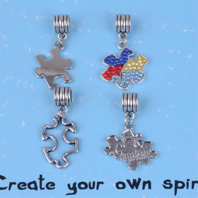 My Shape Antique Silver Plated Autism Awareness Puzzle Dangle Jigsaw Beads Charms Fit Pandora Bracelet Or