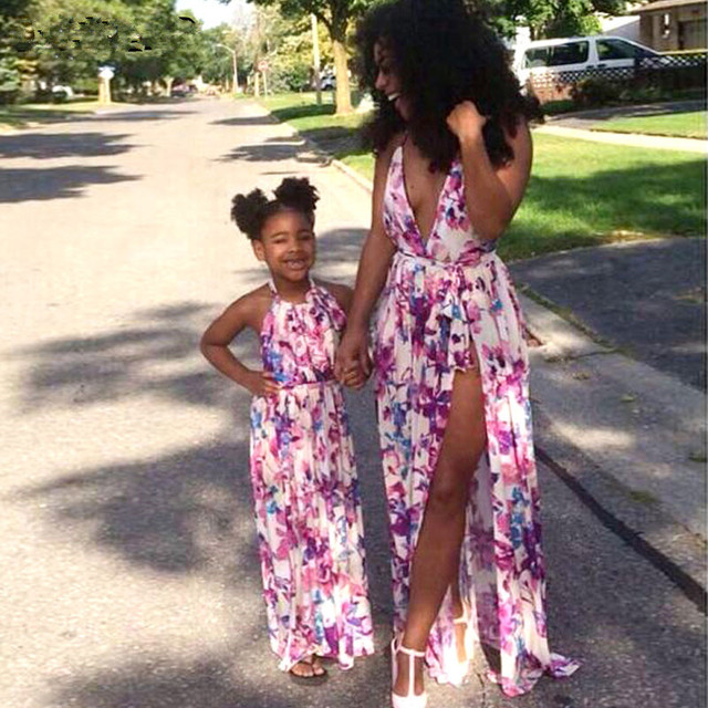 Mother Daughter Dresses 2017 Halter Floral Print Family Matching Outfits Baby & Mother & Kids Side Split Beach Maxi Long Dress