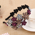 Luxo Cristal Flores Hairbands Headbands Doce Menina de Alto Grau de Noiva Strass Cabelo Acessório Headwear Presente Mãe 5 Cores