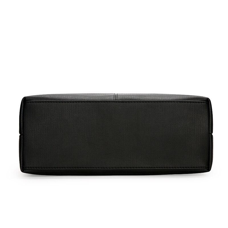 Sac à main femme SA uni noir blanc couleur sac à bandoulière Durable toile décontracté fourre-tout grande capacité sac à provisions sac à main 3 ensembles - 3