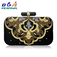 China Style Embroidery Gloden Women Clutch Evening Bag Flower Pattern Diamond Party Day Purse With Metal Shoulder Chain